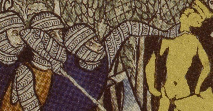 Gideon und seine Männer werfen den Baalsaltar um. Gideon opfert einen Stier (nach Richter 6,25–27), fz. Buchmalerei, 13. Jahrhundert (Detail). Bild: AKG