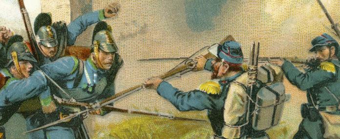 Niederlage der Franzosen bei Sedan am 1. September 1870. Hier: Bayern kämpfen an der Seite Preußens.
