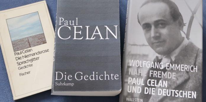Paul Celan mit einer älteren Gedichtsammlung, einer beispielhaften Biografie und der neu herausgebrachten Suhrkamp-Gedichtsammlung.