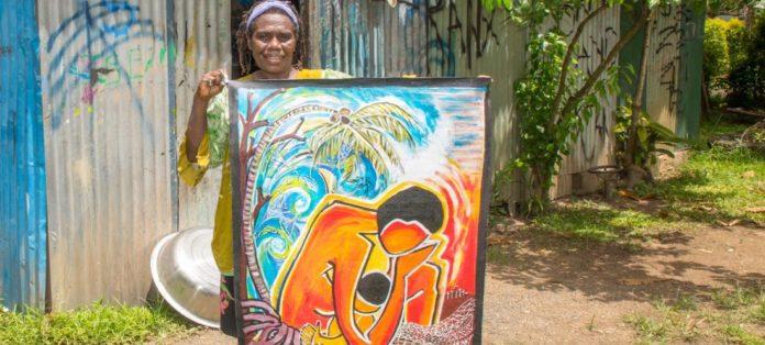 Die Künstlerin Juliette Pita hat das Bild zum Weltgebetstag gemalt. Foto: Heine (Weltgebetstag)