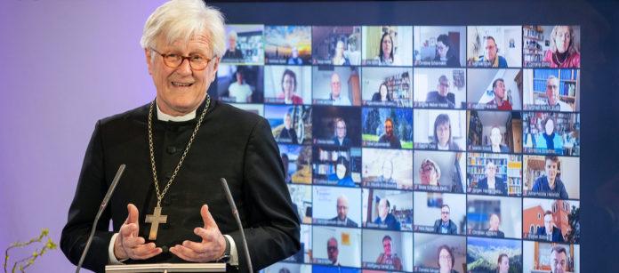 Landesbischof Heinrich Bedford-Strohm bei seinem Bericht vor der Synode, die digital tagt.Foto: elkb