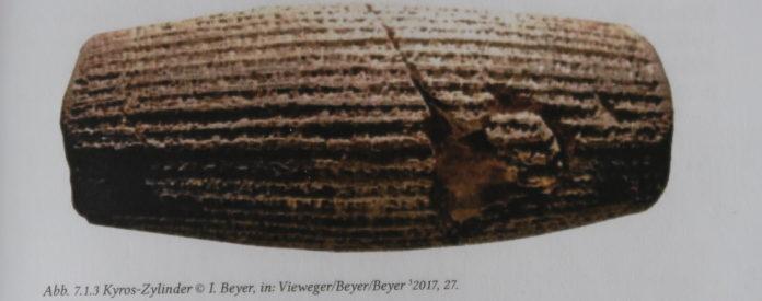 Kyros-Zylinder, Dokumentation in Dieter Vieweger Geschichte der biblischen Welt, Band 3