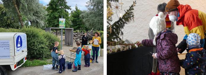 """Mit der Ape beim Kindergottesdienst am Wasserspielplatz der Augsburger St. Pauls-Gemeinde. Familie beim Corona-gerechten """"Weihnachtswunder"""" in Veitshöchheim.Fotos: privat/Grunwald"""